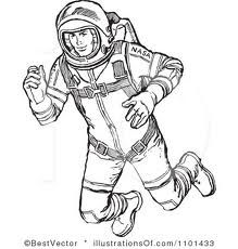 Clipart Retro Black And White Astronaut Floating In Outer Space