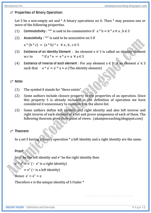 Groups Theory Definitions And Formulae Mathematics 11th Group Theory Theory Definition Mathematics