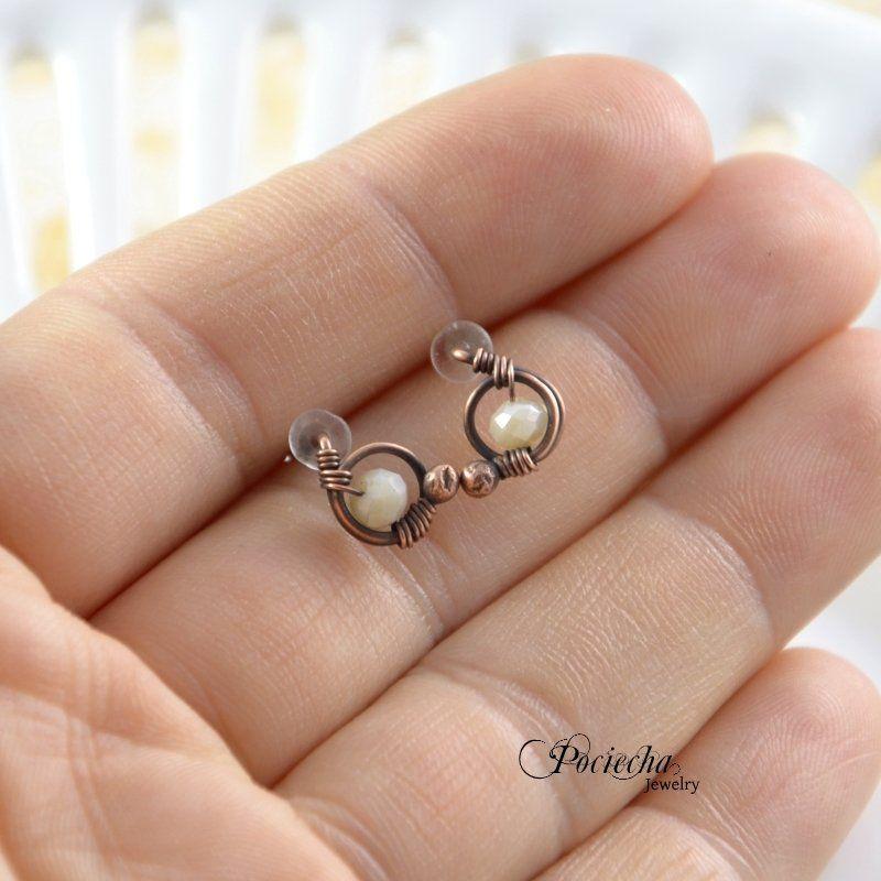 Mini ecru - kolczyki sztyfty - Biżuteria - DecoBazaar