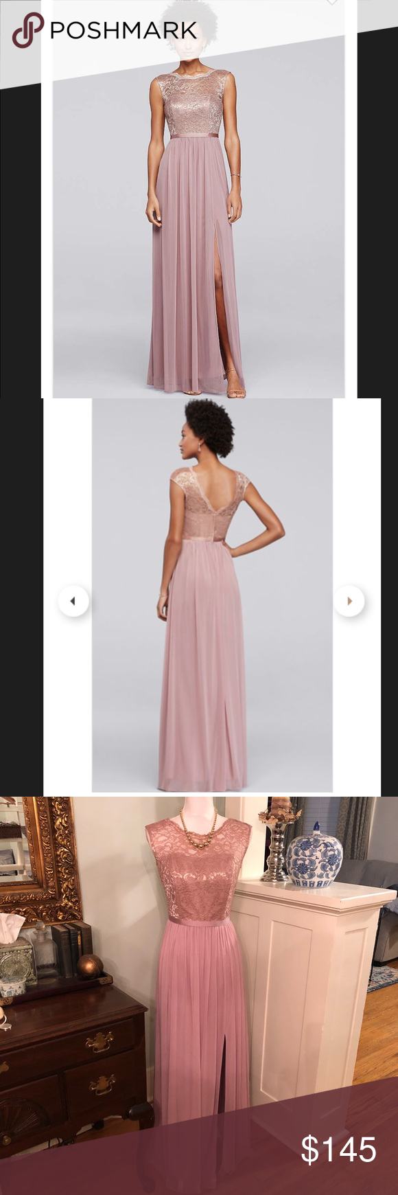 Davidus bridal rose gold pink bridesmaid dress in my posh