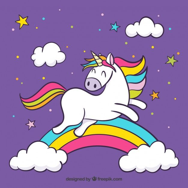 Purple Clouds And Rainbow Background With Jumping Unicorn Free