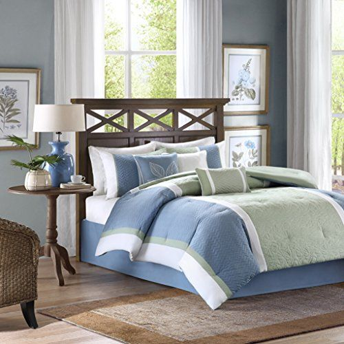 Madison Park America Bethany 7 Piece Comforter Set King Blue U003eu003eu003e ** AMAZON BEST  BUY ** | Bedding U003e70% Off | Pinterest | Comforter, Smart Storage And Storage