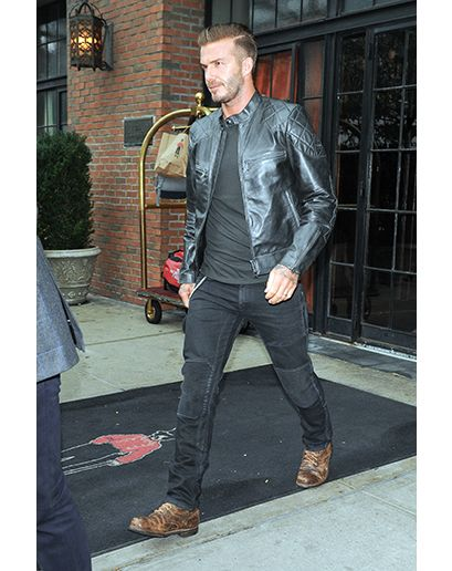 David Beckham wearing Black Leather Bomber Jacket, Black Long ...