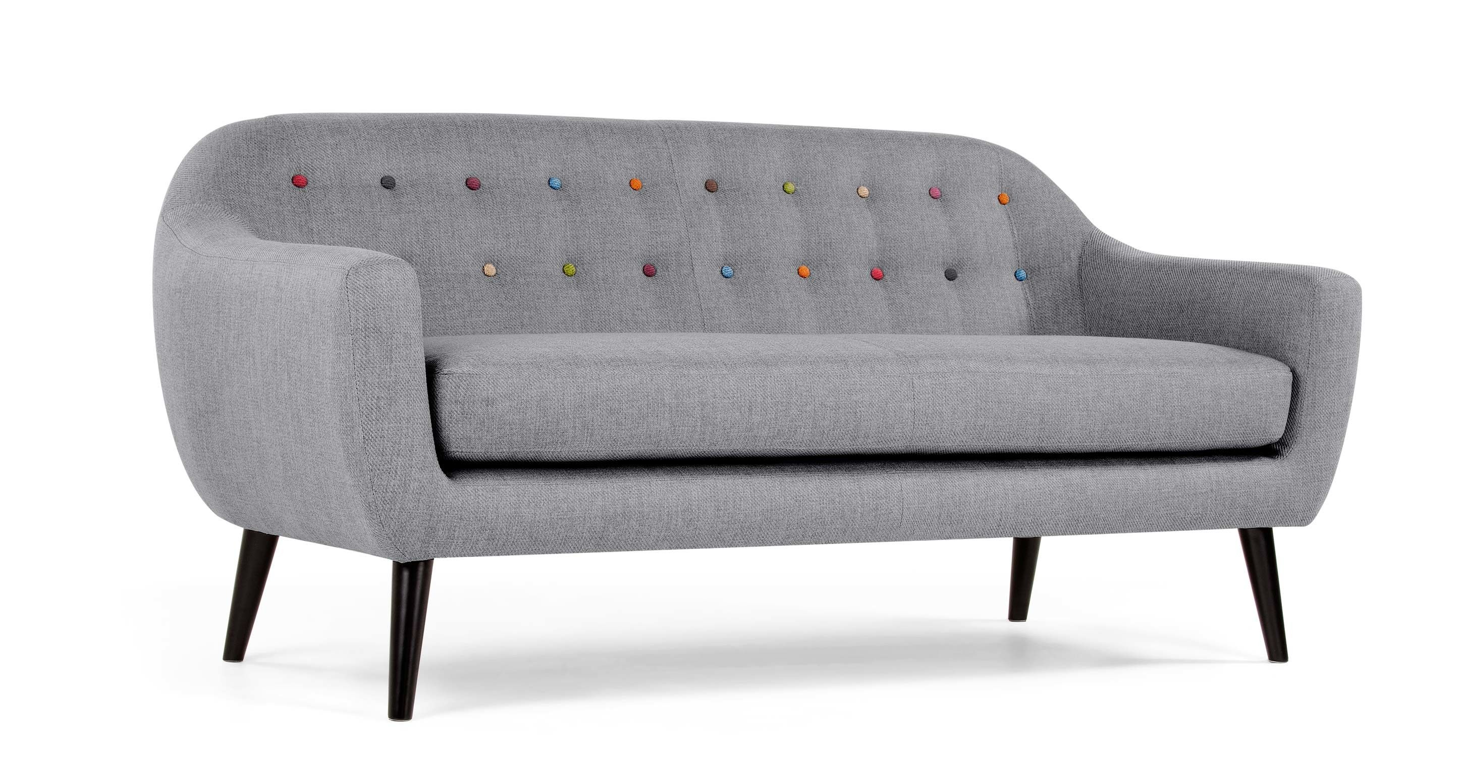 ritchie 3 sitzer sofa perlgrau mit bunten kn pfen interior style pinterest. Black Bedroom Furniture Sets. Home Design Ideas