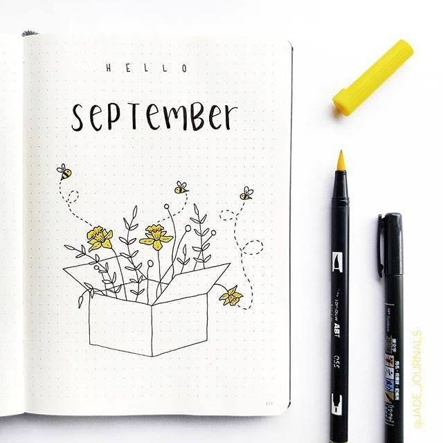 A beautiful Hello September spread by @jade_journals  I hope your September got off to a great start! #notebooktherapy - Shop our bujos brush pens washi and more at the link in our bio: @notebook_therapy or visit www.notebooktherapy.com  - Free international tracking shipping on all items #helloseptember