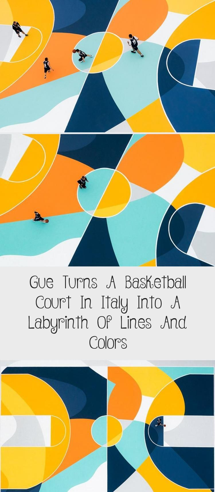 Gue Turns A Basketball Court In Italy Into A Labyrinth Of Lines And Colors  - Design in 2020 | Pop art design, Basketball court, Art design