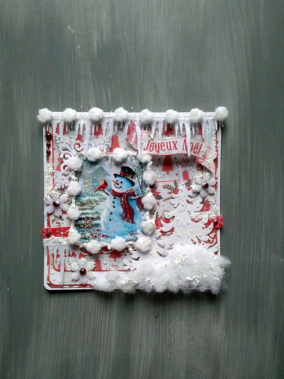 carte de noël carte de voeux fait-main 3d shabby carte | boutique