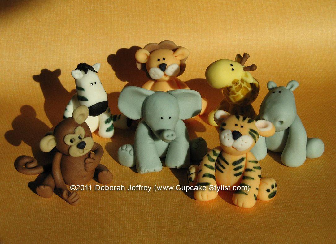 Cake Decorations Safari Animals : Set of 5 Edible Fondant Safari Animal Cake and Cupcake ...