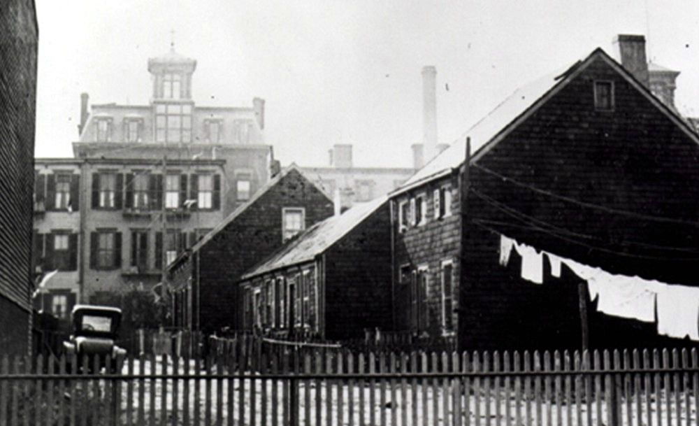 Hunterfly Road houses with St  Mary's Hospital in background