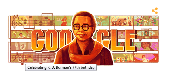 Special #GoogleDoodle for the R. D. Burman's 77th birthday.