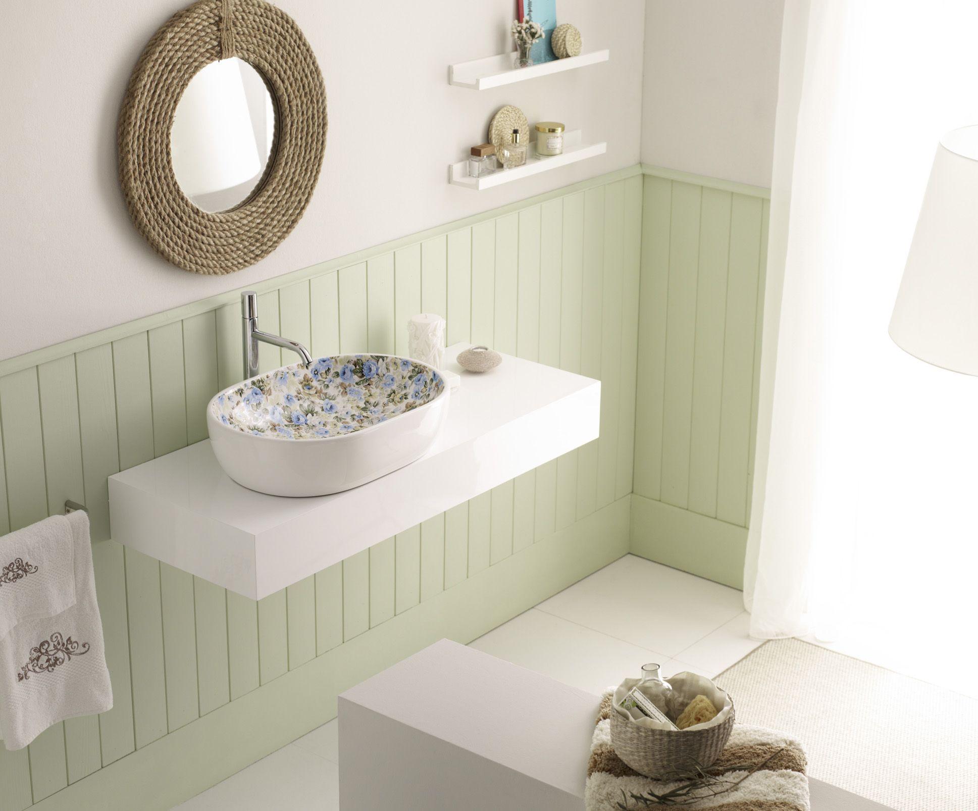 Lavabo De Porcelana Blanca Decorado Quebec 4037/QB