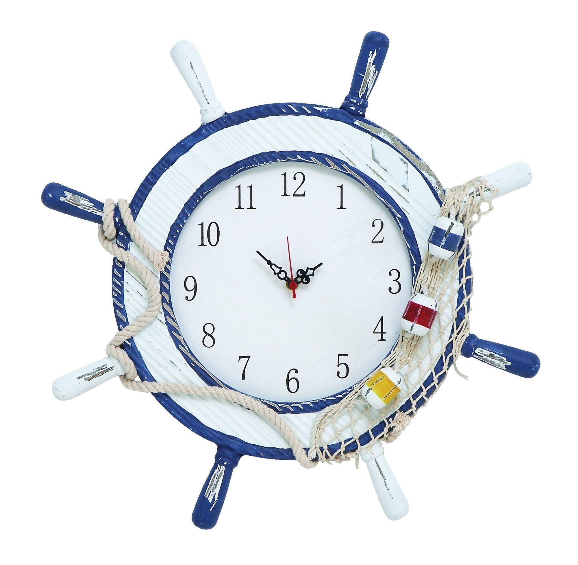 "17"" White Wood Ship Wheel Wall Clock"