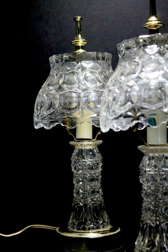 Hollywood Regency Crystal Lamps Gilbert Bedroom Boudoir Pressed Glass Accent Lamps Mid Century Crystal Lamp Crystal Bedroom Lamp