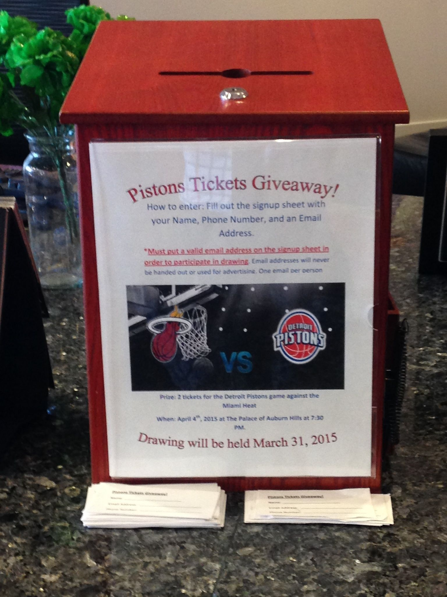 Don't forget to stop by and visit the lounge area for your chance to win 2 Detroit Piston's tickets for the April 4th game against the Miami Heat! Drawing will be held on March 31st!