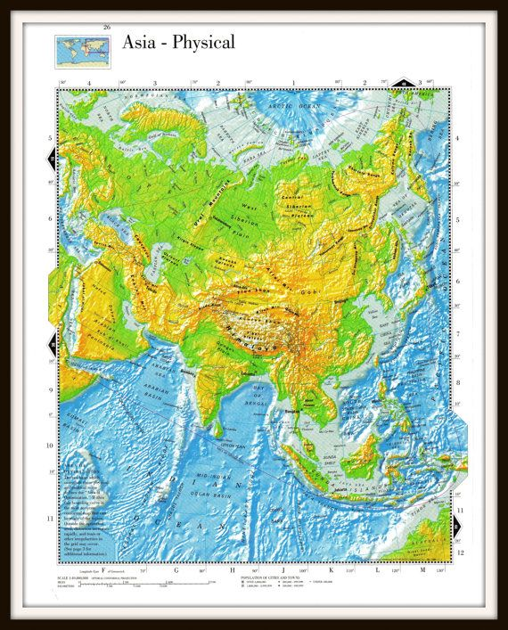 Topographic Map Asia.Asia Map Large 12 X 9 Topographical Map By Stevesvintageart