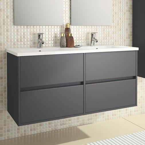 Eco Line Noja 1200 Wall Mounted 4 Drawer Double Vanity Unit Dual Ceramic Basin Matt Grey Sink Vanity Unit Bathroom Vanity Basin Vanity Unit