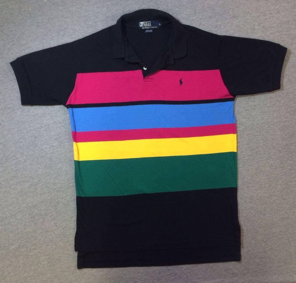 Rainbow Shirt Collar Rainbow L Mens Polo