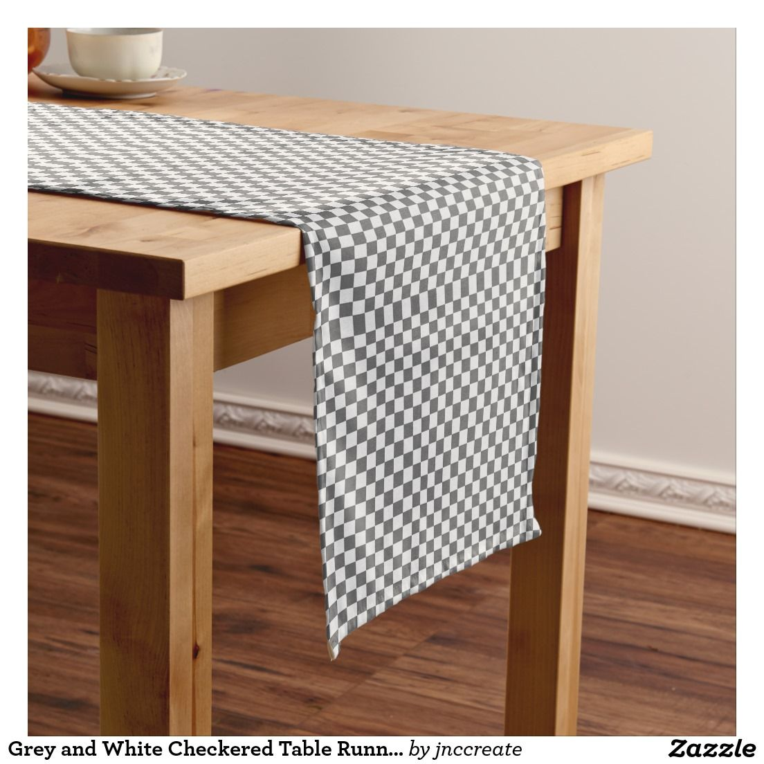Grey and White Checkered Table Runner