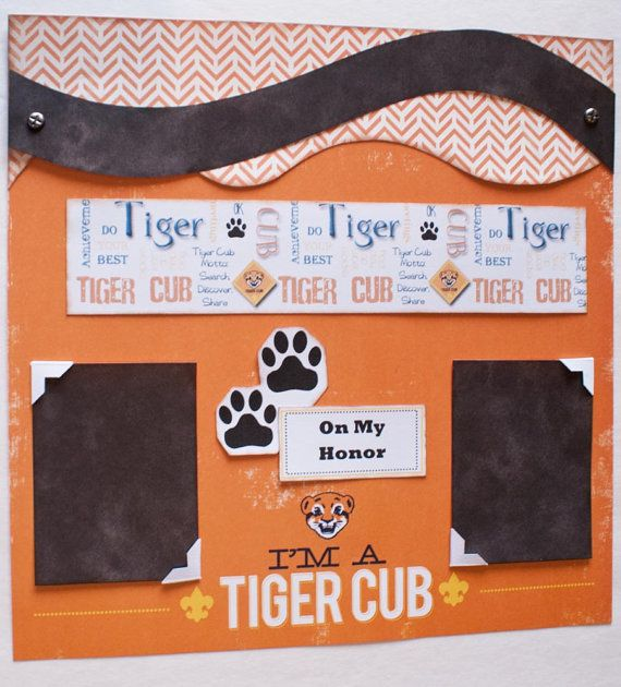 Scrapbook Page Premade 12x12 Single Page Layout Cub Scout Tiger