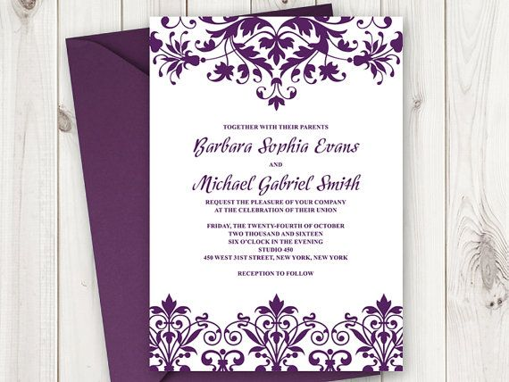 Wedding Invitation Template Cathedral Ornaments in Plum Purple