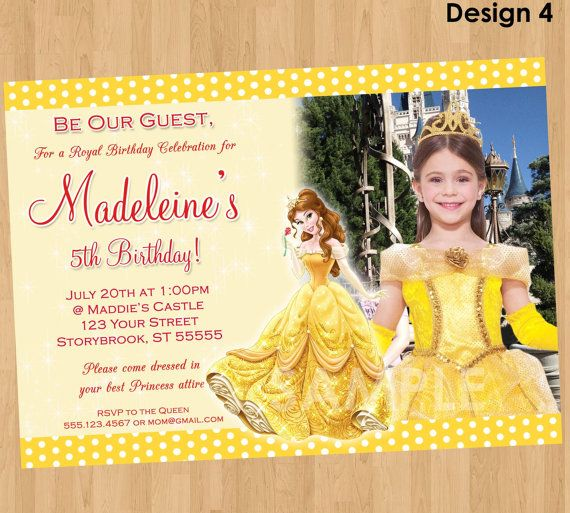 Princess Belle Invitation Beauty and the by KidsPartyPrintables – Invite a Princess to Your Party