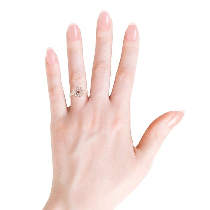 Angara Vintage Blue Sapphire and Diamond Halo Split Shank Ring White Gold 9FfwP