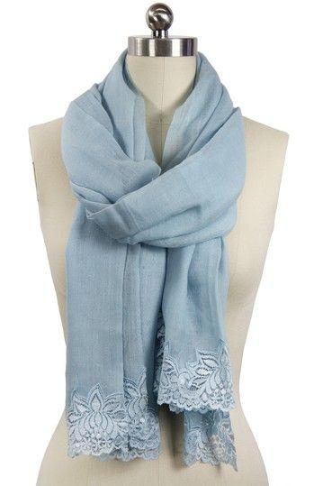 Lace Trim Lightweight Merino Wool Scarf -Tender Blue by Saachi on @HauteLook