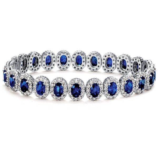 Blue Nile Oval Sapphire and Pavé Diamond Bracelet in 18k White Gold ($21,000) ❤ liked on Polyvore