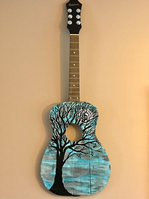 Rustic Acoustic Guitar Art Painting Called Blue Moon By Musicasartbysarah On Etsy Https Www Etsy Com Listing 48 Guitar Artwork Acoustic Guitar Art Guitar Art
