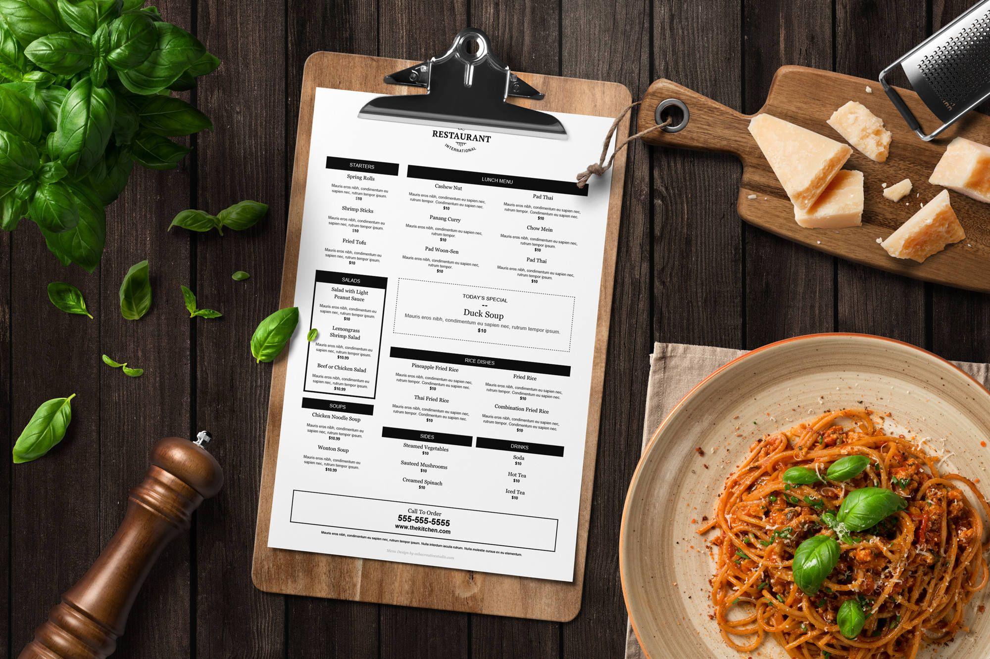menu template restaurant menu printable menu editable menu word