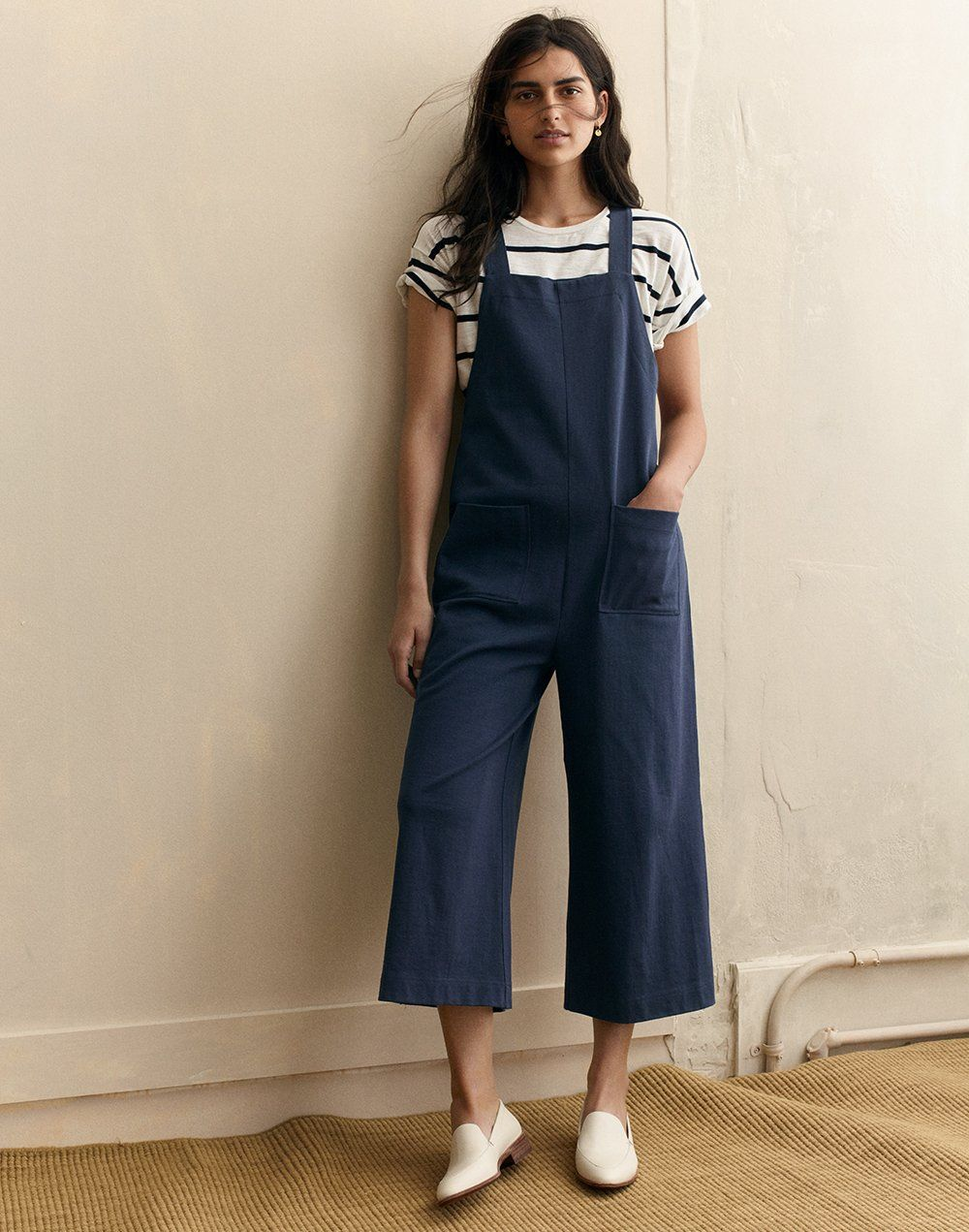 e4267fec456 madewell patch-pocket overalls worn with whisper cotton crewneck tee + the  frances loafer.