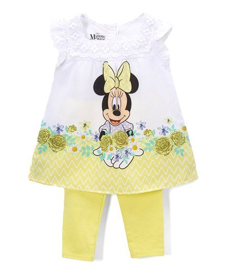 1ee46ecbc Childrens Apparel Network Minnie Mouse Yellow Floral Top & Leggings Set -  Girls | zulily