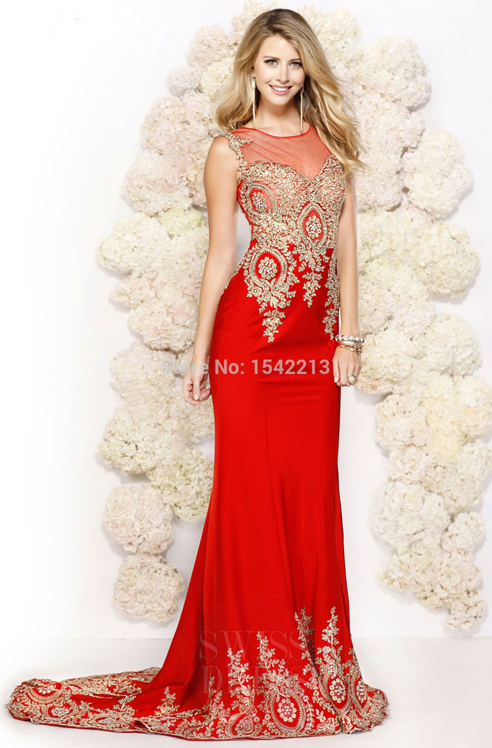 Black red mermaid evening dress heavy lace beaded crystal prom