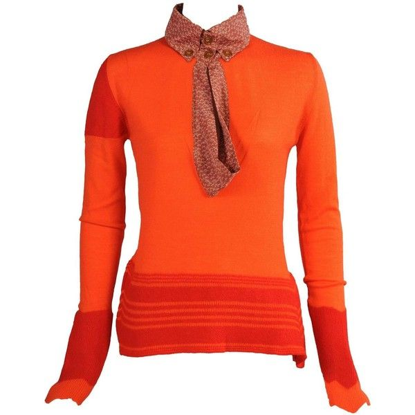 Preowned Vivienne Westwood Orange & Red Sweater ($450) ❤ liked on Polyvore featuring tops, sweaters, red, vivienne westwood, orange sweater, vivienne westwood sweater, orange top and red top