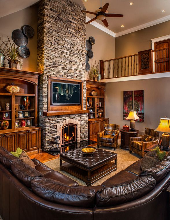 Rustic fireplace design - see more inspiration at www