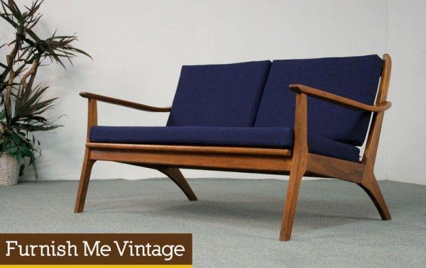 Mid Century Modern Navy Danish Style Sofa