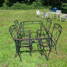 Vintage Table and Chairs Wrought Iron Outdoor Set