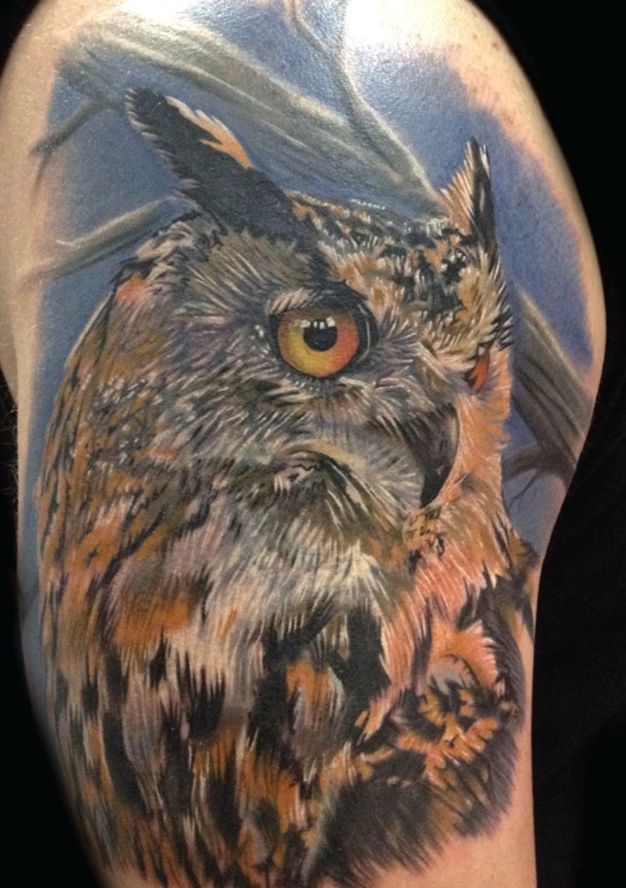 Realistic owl by Phil Garcia #InkedMagazine #tattoos # ...