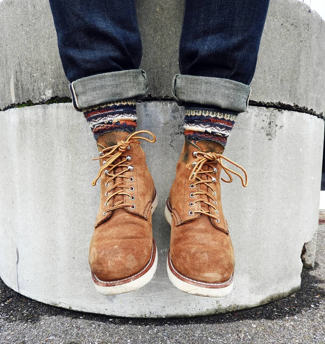 Reposting Calgeary Thursday Hangs Rgt Sk 12 5 Oz Tinted Weft Chupsocks Dia Socks Redwingheritage Roughouts 818 Red Wing Shoes Classy Shoes Boots