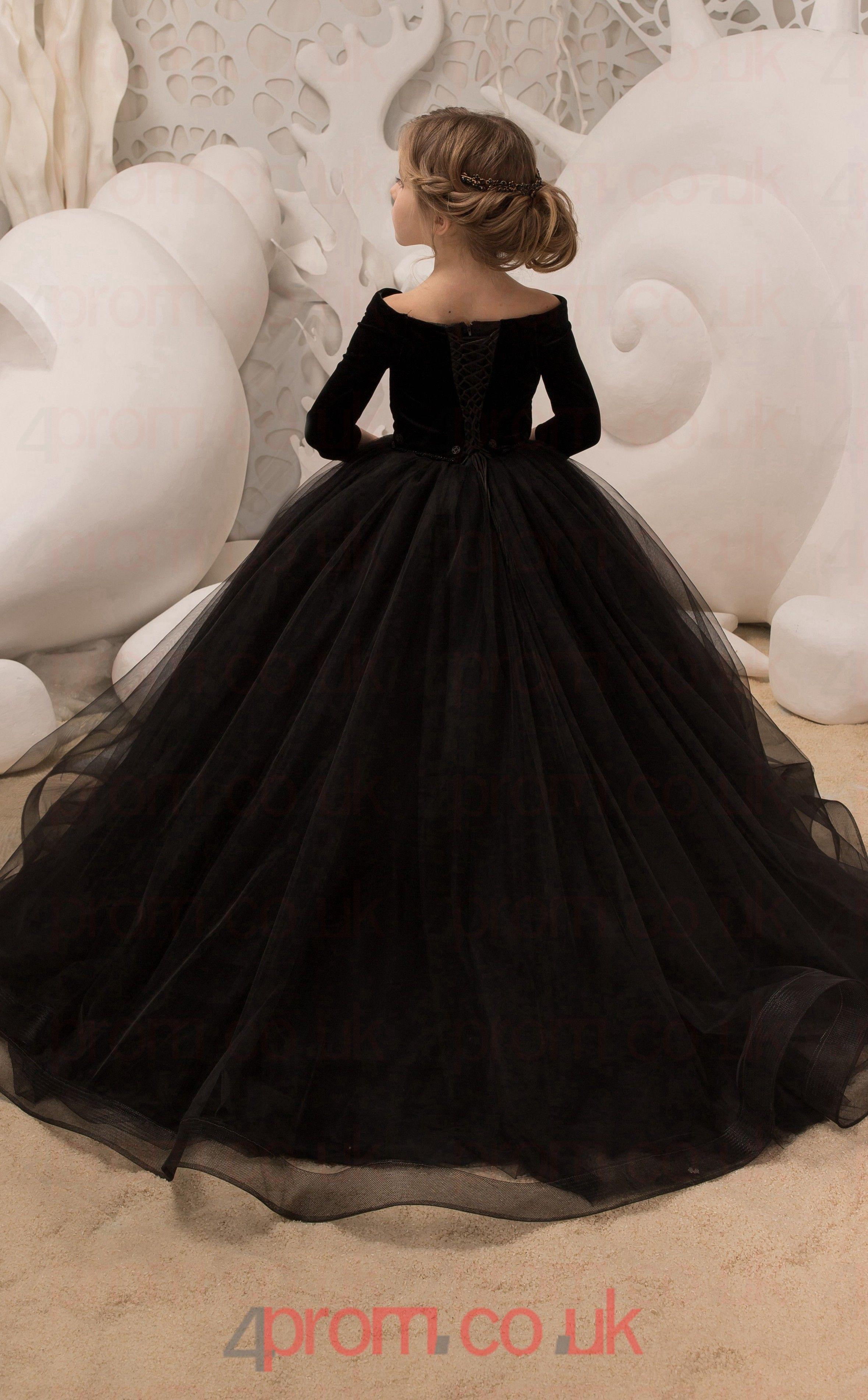 Scalloped 3 4 Length Sleeve Black Kids Prom Dresses Chk037 4prom Co Uk Kids Prom Dresses Kids Gown Wedding Dresses For Kids [ 3803 x 2359 Pixel ]