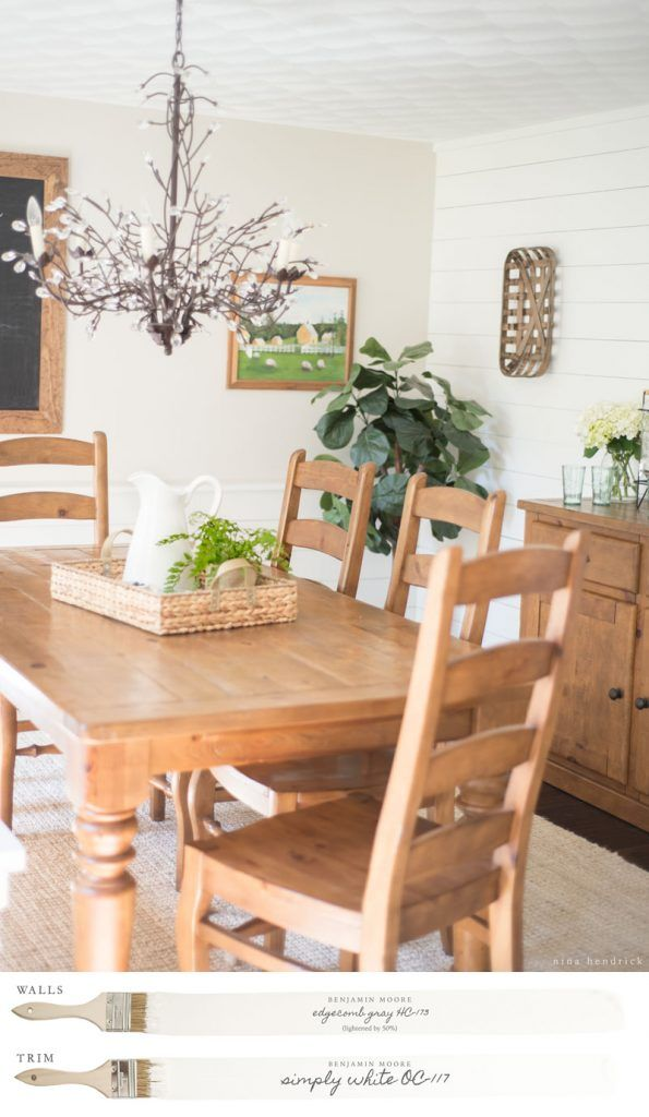 New England Farmhouse Neutral Paint Color Scheme | Dining Room Painted  Edgecomb Gray And Simply White.
