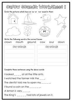 Digraph Activity Sheet: ou/ow   Primary Grade ELA   Phonics ...