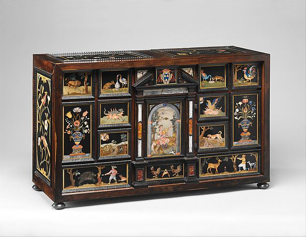 ca. 1606-1623 - Barberini Cabinet - various exotic hardwoods with ebony moldings and plaques of marble; pietre dure work consisting of colored marbles, rock crystal and various hardstones