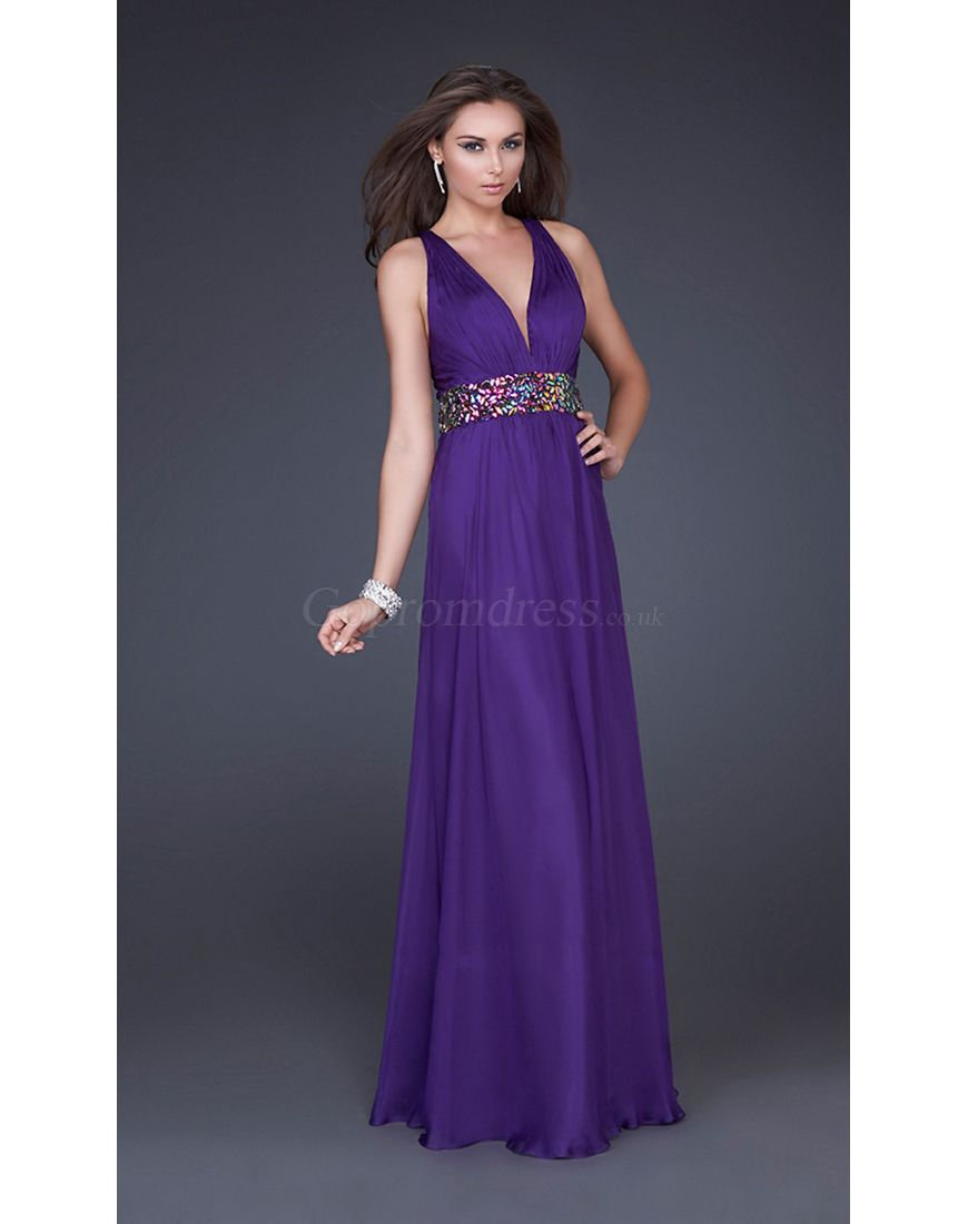 Tencel criss cross back belt long purple prom dress prom dresses