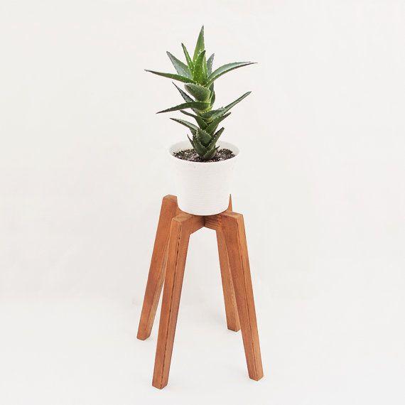 Peana Para Macetas De Interior De Madera Estilo Vintage Etsy Rustic Plant Stand Planter Stand Rustic Planters