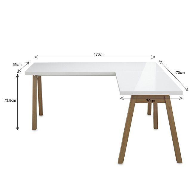 oslo bureau blanc d 39 angle avec pi tement en bois massif bureaux blancs alin a et bois massif. Black Bedroom Furniture Sets. Home Design Ideas