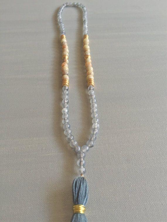 Chic Long Beaded Tassel Necklace Slate Blue/Grey by loveandjolie
