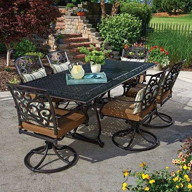 Cast Aluminum Patio Dining Set With Premium Sunbrella® Fabric