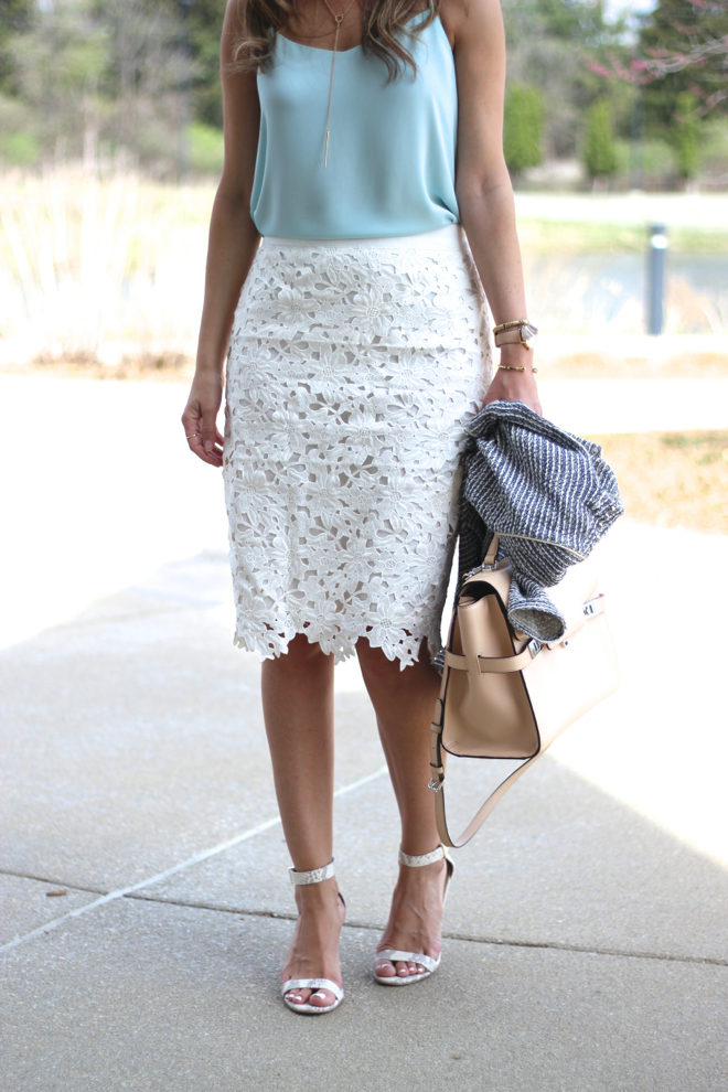 Lilly Style: White skirt with a powder blue blouse | Skirt Trends ...