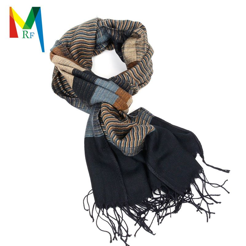 assorted colors striped scarf for man reversible AB side viscose scarf Tassels long  Scarves  free shipping